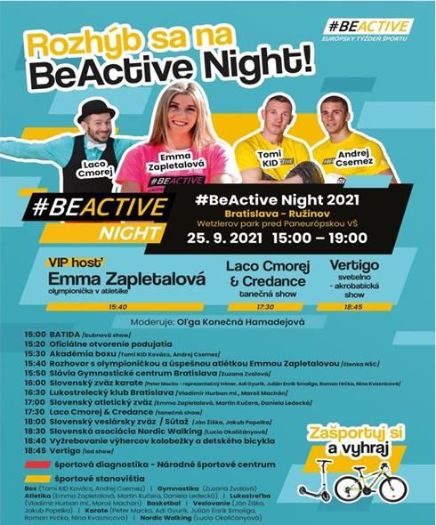 BeActive Night v Európskom týždni športu rozhýbe Bratislavu